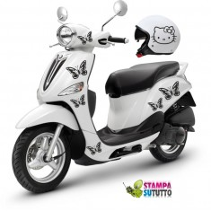 Kit adesivi scooter e casco HELLO KITTY FARFALLE